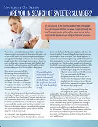 Treating Snoring and Sleep Apnea SNORING & SLEEP APNEA TREATMENT