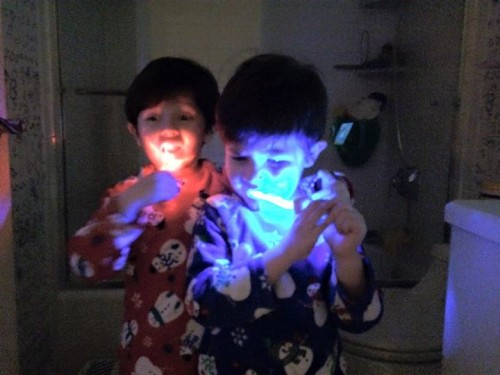 Glowing Brush Routine VenusSiandre 500x375 Children's Dental Health Month #SilverstromSmiles Contest
